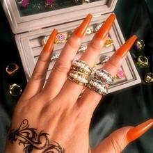 Flatfoosie – bagues brillantes en cristal multicolore pour femmes, bijoux de luxe de mariage, perles et fleurs géométriques, nouvelle collection