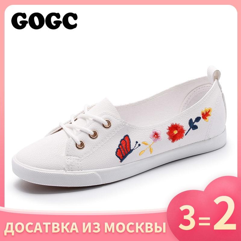 GOGC 2019 Slipony Women Shoes Ladies Leather Shoes Breathable footwear Flat Shoes Women Fashion Women Sneakers Summer Autunm 975
