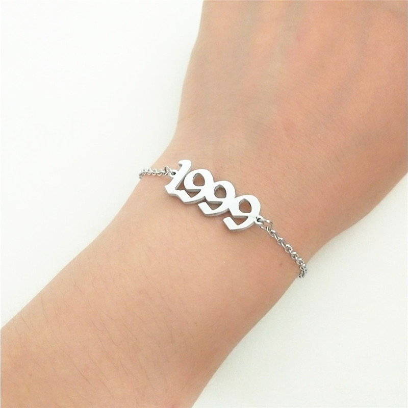 Anklet Chain For Women Custom Birthday Gift 1999 Old English Number Anklets Stainless Steel Jewelry Birth Year Enkelbanden 3