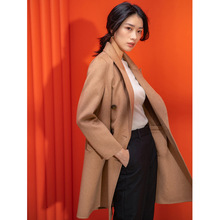 2019 Autumn New Hand Sewn Double-sided Cashmere Coat Woman High-end Medium-long Classic Double-breasted Suit Collar