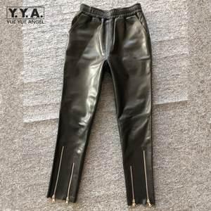 Pants Women Trousers Sheepskin Autumn Female High-Waist Fashion Elastic Motorcycle Ankle-Length