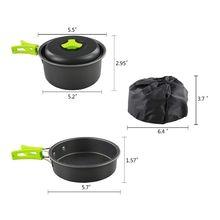 Портативный походный набор кухонной посуды, складной набор для походов, альпинизма, 10 шт., легкий прочный горшок, сковородки и миски, Spork с