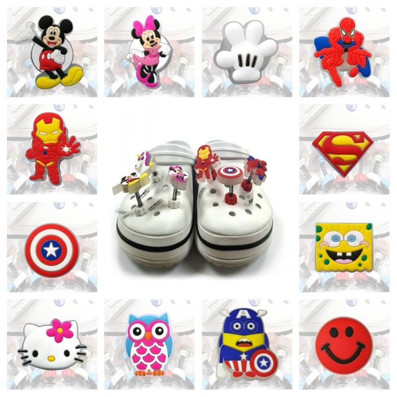 1PCS Avengers Mickey LED Spring Shoe Charms Unicorn PVC Shoe Buckles Light Shoes Accessories Shoe Ornaments Croc JIBZ Kid Gift