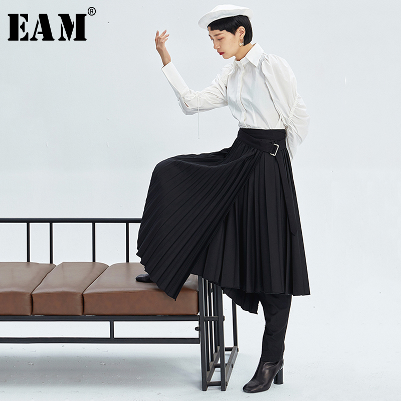 [EAM] High Waist Pleated Asymmetrical Split Elegant Long Half-body Skirt Women Fashion Tide New Spring Autumn 2020 1K712