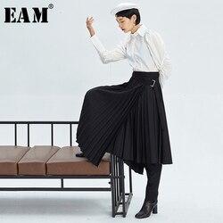 [EAM] Hohe Taille Gefaltete Asymmetrische Split Elegante Lange Halb-körper Rock Frauen Mode Flut Neue Frühling Herbst 2020 1K712