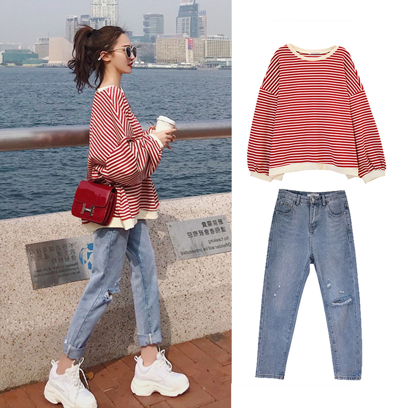S 4XL Oversize Denim New Plus Size Two Piece Suit Autumn Women Suits Long Sleeve Stripe T Shirt Elegance Jeans Pants Set