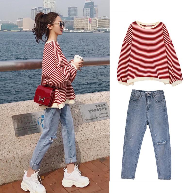S 4XL Oversize Denim New Plus Size Two Piece Suit Autumn Women Suits Long Sleeve Stripe T Shirt Elegance Jeans Pants Set