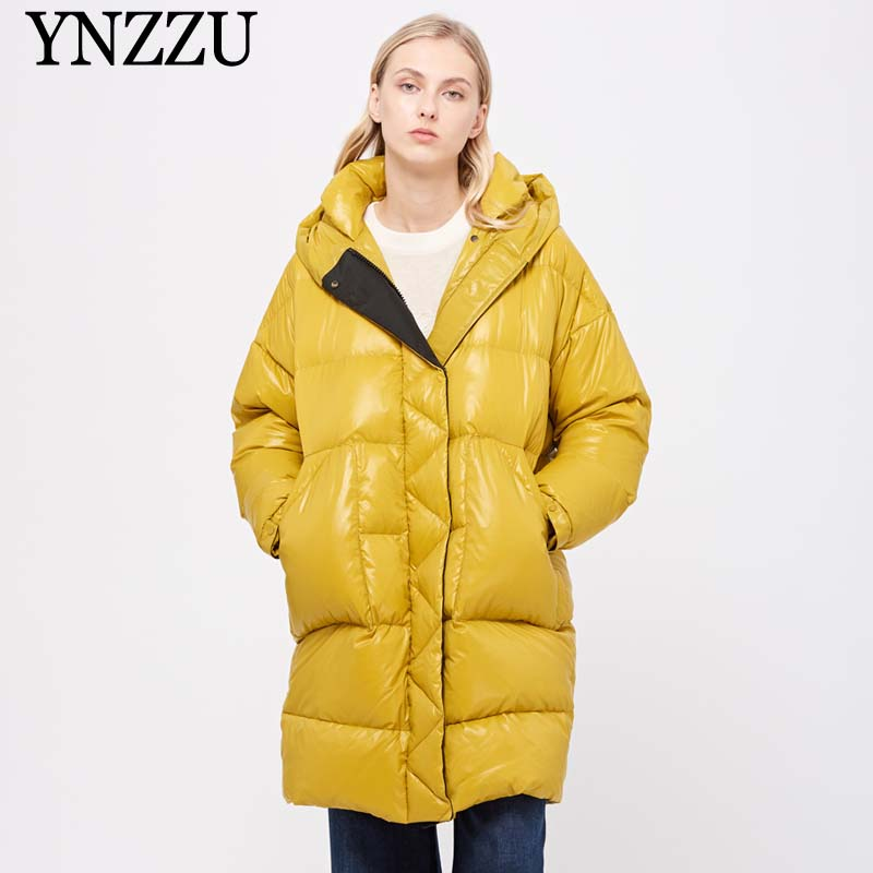 2019 Winter Goose Down Jacket Oversize Women Hooded Thick Warm Long Down Coat Elegant Fashion Long Sleeve Outwear YNZZU 9O054