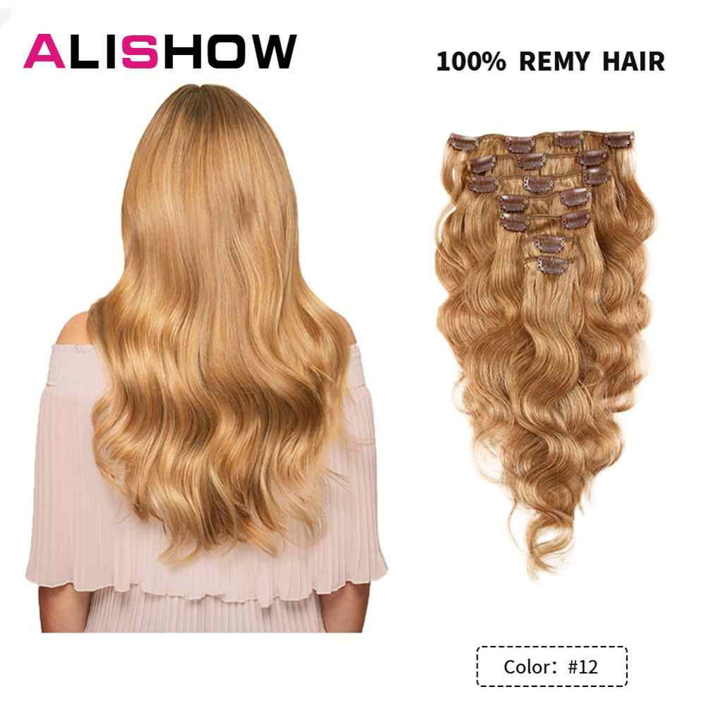 Alishow Body Wave 100g Clip in Human Hair Extensions Machine Made Remy Hair 100% Human Hair Extensions Natural Hair