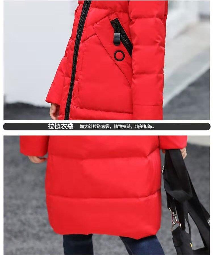 adolescente outerwear crianças inverno engrossar casaco preto rosa vermelho
