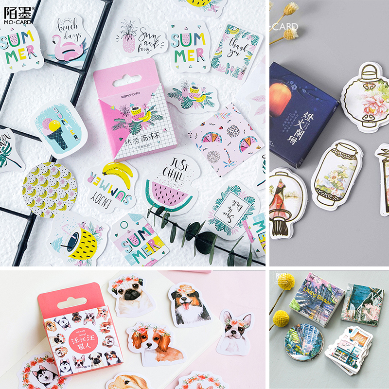 45 pcs/Box Various Stickers Diary Kawaii Cute Planner Journal Scrapbooking Paper Stickers Stationery School Supplies image