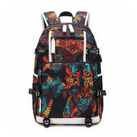 Waterproof Backpacks Oxford Printed USB Travel Backpack Students School Bags for women men Can Custom Logo Image Shoulder Bags
