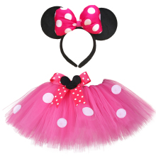 Baby Girls Minnie Tutu Skirt Outfit Kids Fluffy Dance Tutus with Bow Headband Toddler Girl New Year Costume for Birthday Party