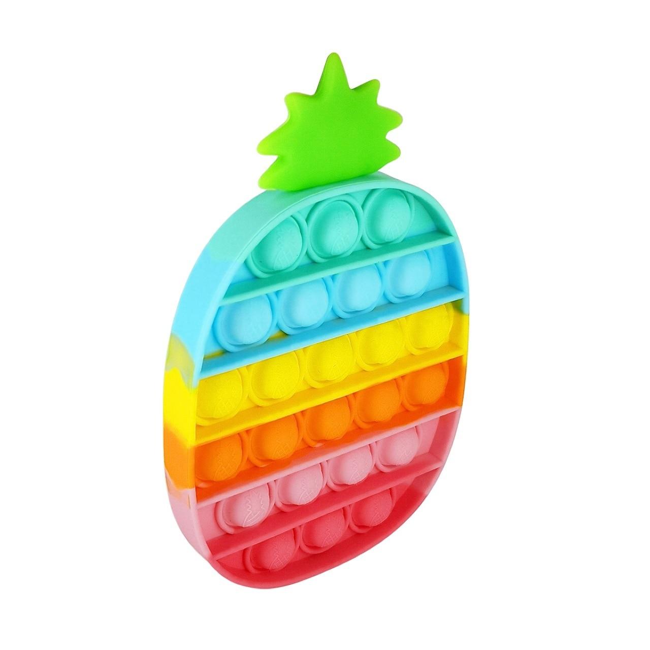 Push Pop Bubble Sensory Toy Autism Needs Squishy Stress Reliever Toys Anti-stress Pop It Fidget Strawberry Pineapple Rainbow Toy img3