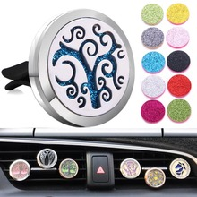 New Car Air Diffuser Locket Tree Stainless Steel Vent Freshener Essential Oil Perfume Aromatherapy Necklace
