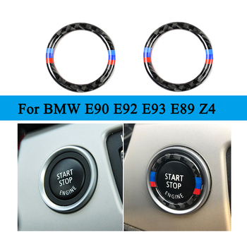 Car Engine Start Stop Push Button Ignition Key Carbon Fiber Ring Decor Trim For BMW 3 series E90 E92 E93 E89 Z4 2009 2010 2011 image