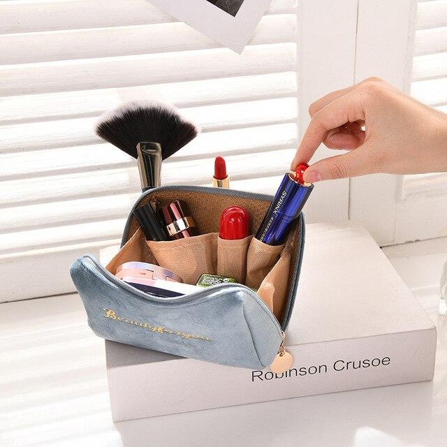 Фото бархатный органайзер для макияжа doozeepa мягкая сумка помады цена
