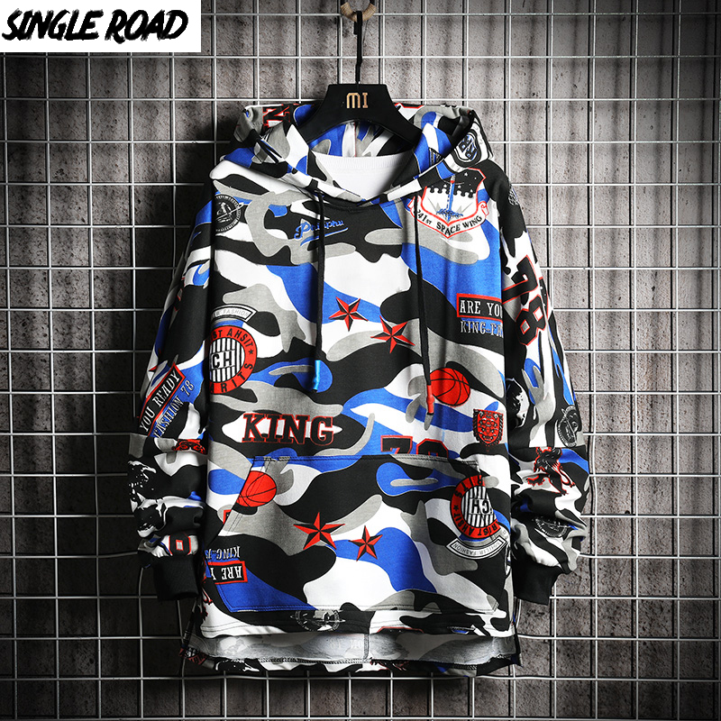 SingleRoad Men's Hoodies Men 2020 Spring Oversized Harajuku Japanese Streetwear Hip Hop Camouflage Hoodie Men Sweatshirt Male