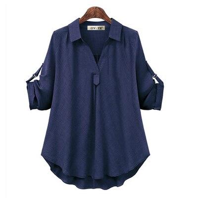 Женские рубашки размера плюс 4XL, Европейский стиль, женские рубашки, весна-лето, свободная блузка с длинным рукавом, топы, брендовая офисная одежда для женщин, Новинка - Цвет: Blue
