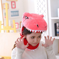 Halloween Party Cosplay Cute Plush Hood Dinosaur Hat Boys Girls Cap Dinosaur Beanie Plush Hat Photo Props Children Funny Toys