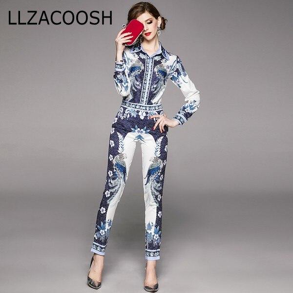 High Quality 2020 Spring Fashion Designer Runway Suit Set Women's Long Sleeve Vintage Print Tops + Pants Two Piece Set