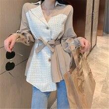Женская куртка средней длины осенняя в Корейском стиле с воротником