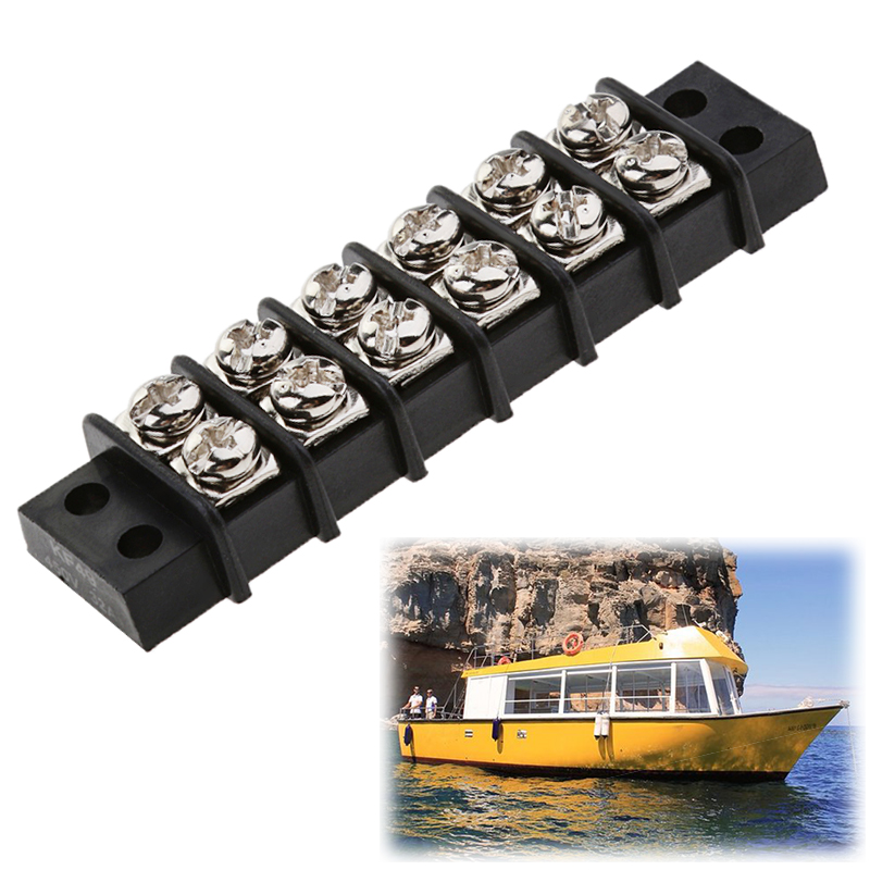 6 Points Auto Marine Power Distribution Bus Bar Terminal Block Set 30A 12V Terminal Barrier Strips