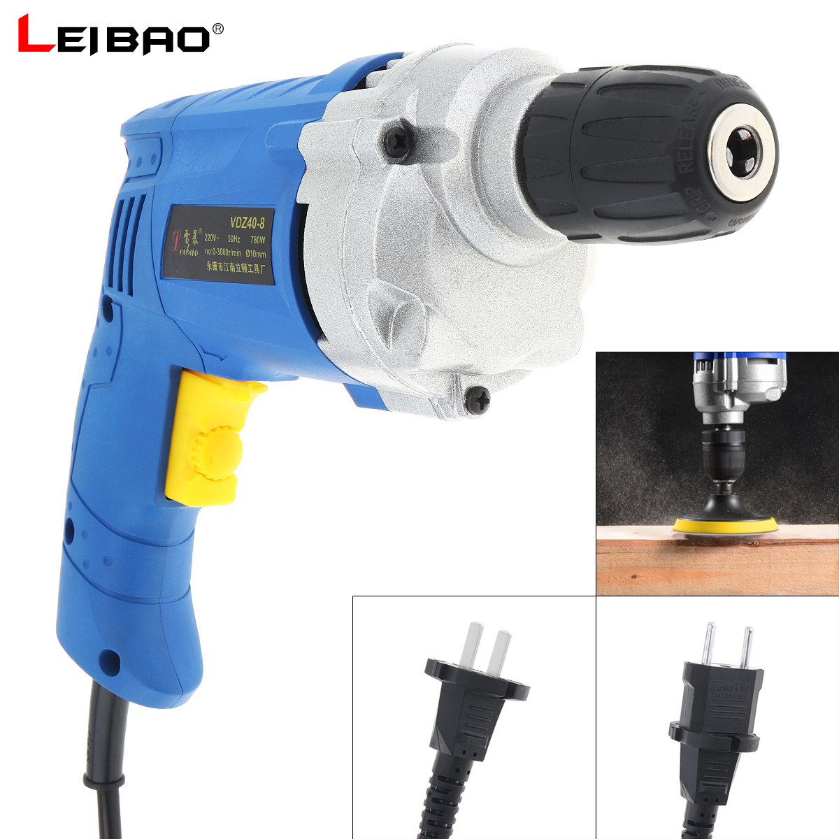 220V 780W High Power Handheld Impact Electric Drill With Rotation Adjustment Switch And 10mm Drill Chuck For Handling Screws