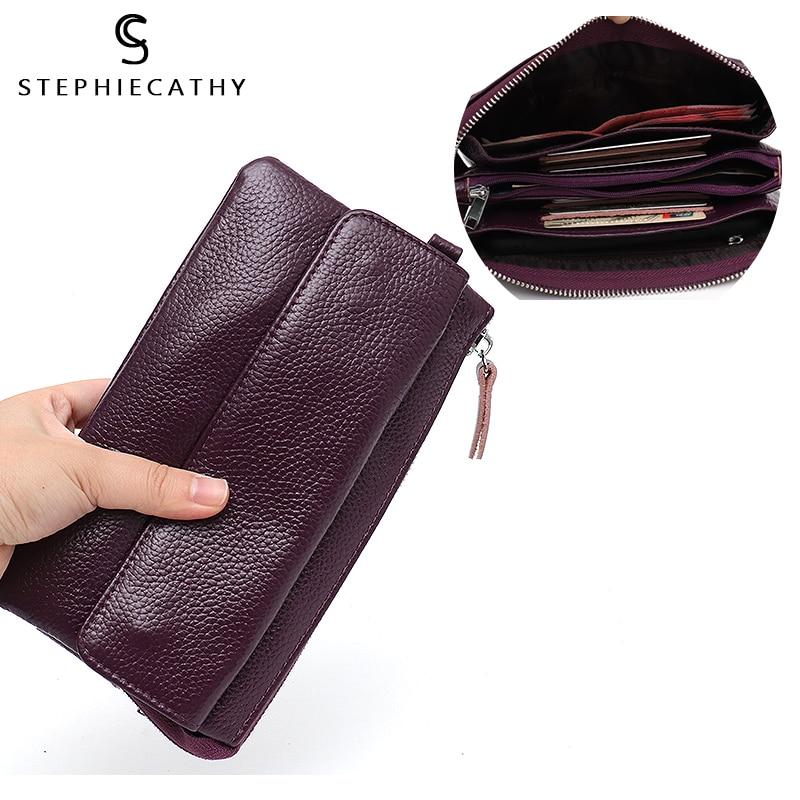 SC Women Genuine Leather Long Wallet Ladies Functional Purse Girl Cow Leather Card Holders Coin Purse Wristlet Crossbody Handbag