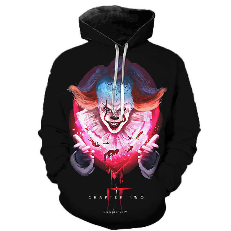 Horror Movies IT Clown 3D Printed Hoodies Men Women Freddy Jason Murderers Film Pullover Annabelle Personality Funny Sweatshirts