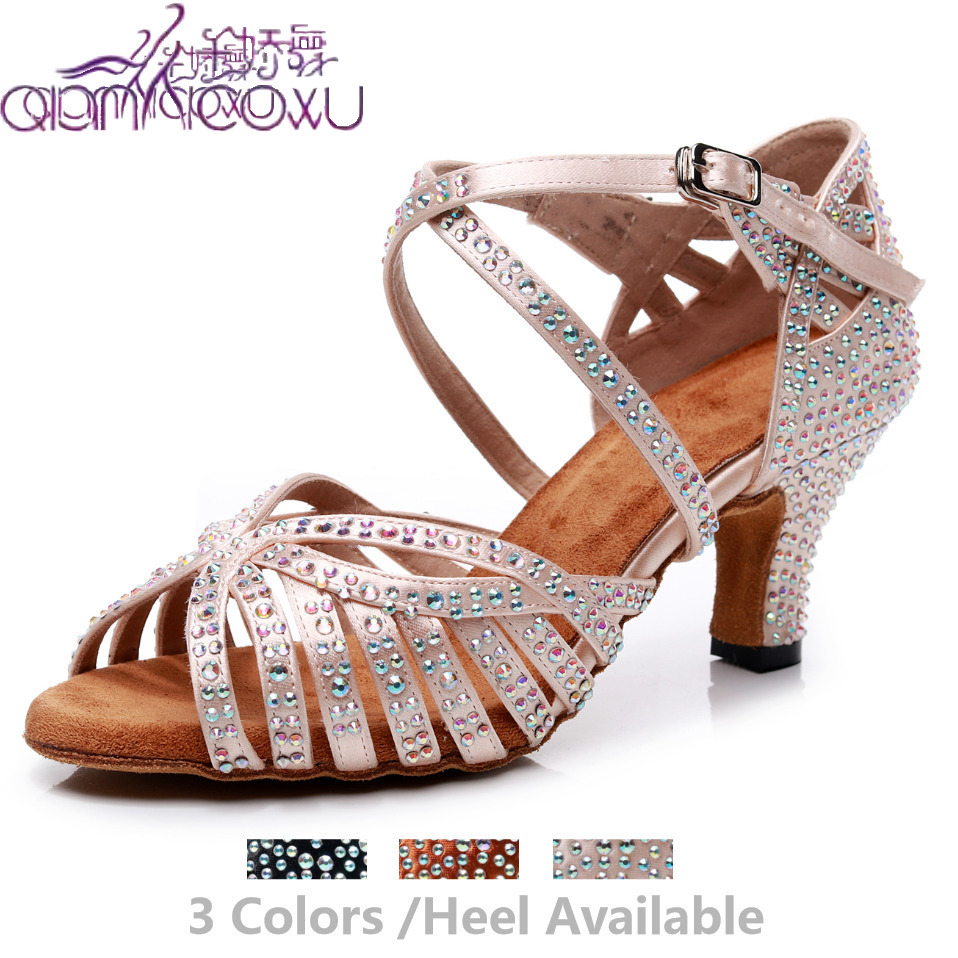New Stye Jazz Salsa Ballroom Latin Dance Shoes For Dancing Women Urban Sexy High Heels Schoenen Summer Rhinestone Sandals 7164