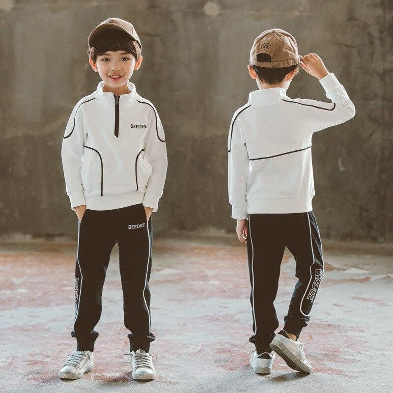 Mode grands garçons Sport ensembles automne adolescent coton tenues enfants vêtements ensemble bébé à manches longues uniformes survêtement enfants 4-16yrs