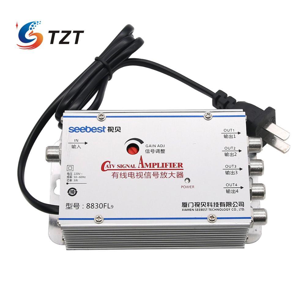 TZT 4 Way CA TV VCR ТВ антенна усилитель сигнала разветвитель 30 дБ 45-880 МГц FREQ