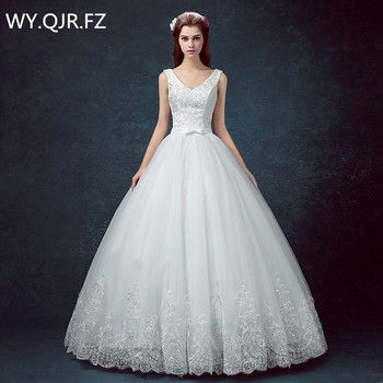 DM-0416#V-neck Bride's wedding dress Resin drill white Ball Gown lace up cheap wholesale 2019 new Organza with Embroidery Bow
