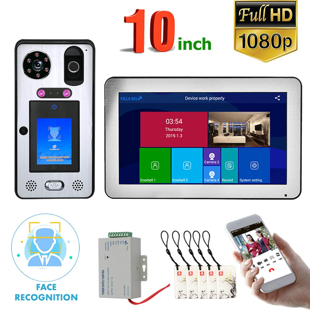 """10 """" Touch LCD Wifi Wireless Face Recognition Fingerprint IC Video Door Phone Doorbell Intercom System With Wired 1080P Camera"""