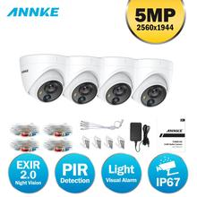 ANNKE 4X 5MP Super HD Wired TVI PIR Security Camera With White Visual Light Alarm Outdoor IP67 Waterproof PIR Detection CCTV Kit