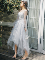 Silver Gray Long Sleeves High Low Evening Dresses 2020 Elegant O neck Star Lace Prom Dresses Long For Graduation