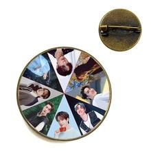 Студенческая брошь wang yibo стеклянный круглый шейный штырь
