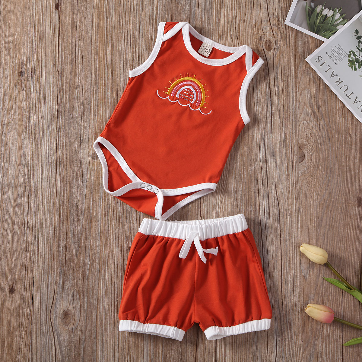 2Pcs Newborn Infant <font><b>Baby</b></font> Girls Boys Clothes Set Casual Summer Sleeveless Rompers Shorts Outfits <font><b>Baby</b></font> <font><b>Clothing</b></font> Suits 0-24M image