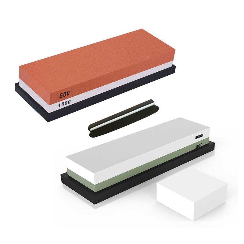 2 Set Sharpening Stone 2 Side Whetstone Sharpener Waterstone with Non-Slip Rubber Base, <font><b>Grit</b></font> <font><b>3000</b></font>/<font><b>8000</b></font> & <font><b>Grit</b></font> 600/1500 image