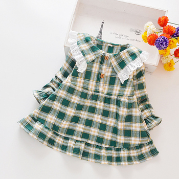 1-4T Toddler Girl Clothes Kids Plaid Print Long Sleeve Princess Dress Children's Clothing
