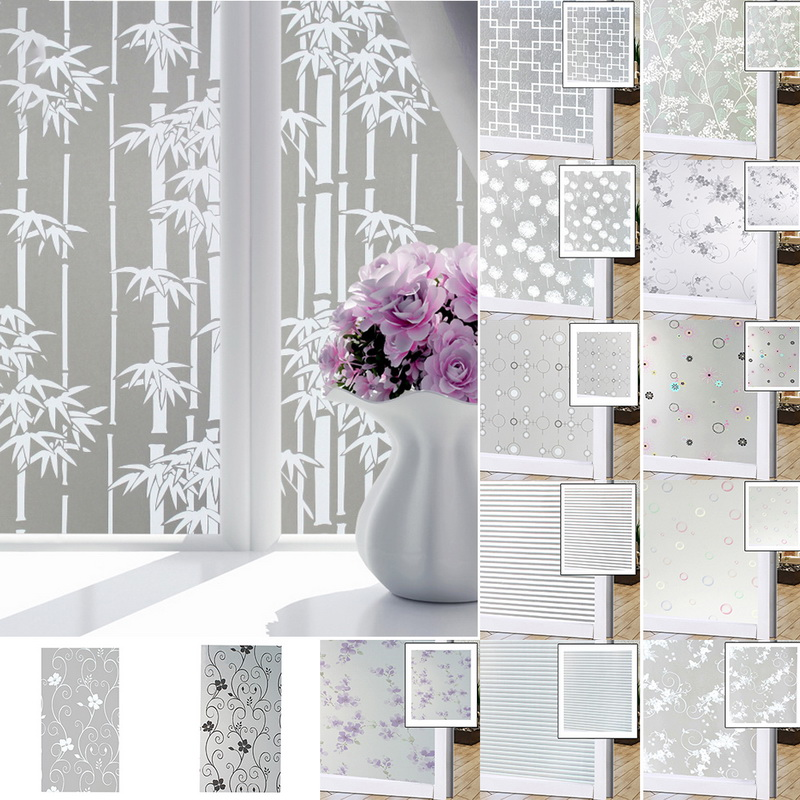 US Privacy PVC Window Film Frosted Stickers Self Adhesive Static 45x100cm Window