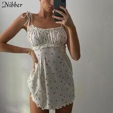 Nibber-mini robe à fleurs, tenue ample, slim, style boho, style coréen, tenue de nuit, été décontracté