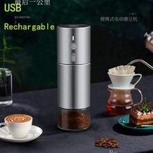 USB şarj edilebilir kahve değirmeni taşınabilir kahve değirmeni 304 paslanmaz çelik çapak elektrikli fasulye değirmeni araba değirmeni