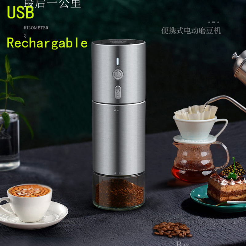 USB Rechargeable Coffee Mill Portable Coffee Grinder 304stainless Steel  Burr Electric Bean Mill Car Grinder