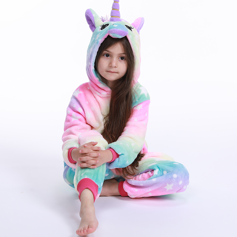 Girls Boys Winter Pajamas New Unicorn Cartoon Anime Animal Onesies Kids Sleepwear Flannel Warm Jumpsuit Children Pajama