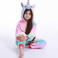 Kigurumi Girls Boys Winter Pajamas new Unicorn Cartoon Anime Animal Onesies Kids Sleepwear Flannel Warm Jumpsuit Children Pajama