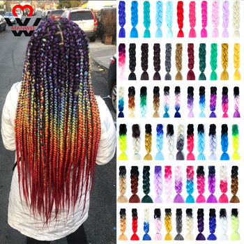 MANWEI 24inch Crochet Braids Box 100g/pc Ombre Jumbo Synthetic Braiding Hair Extensions