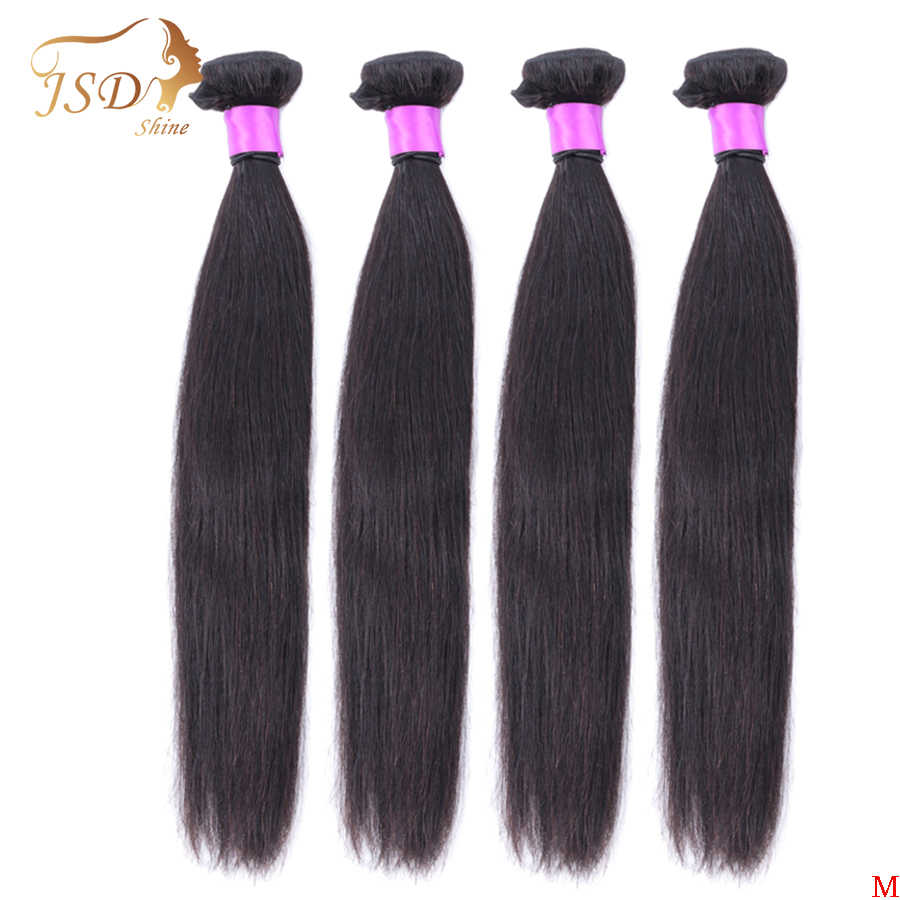 JSDShine 8-38 40 inch Brazilian Straight Hair Weave Bundles Natural Color 100% Human Hair weave 1/3/4 Piece Remy Hair Extensions