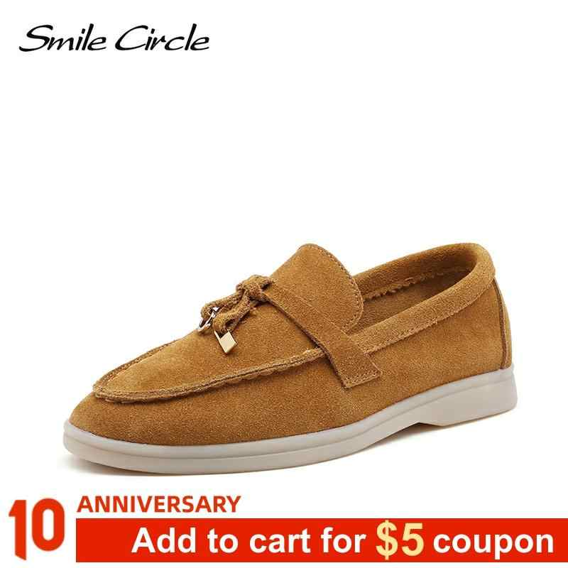 Smile Circle/cow-suede loafers Women Slip-On flats shoes Genuine Leather Ballets Flats Shoes for women Moccasins big size 36-42